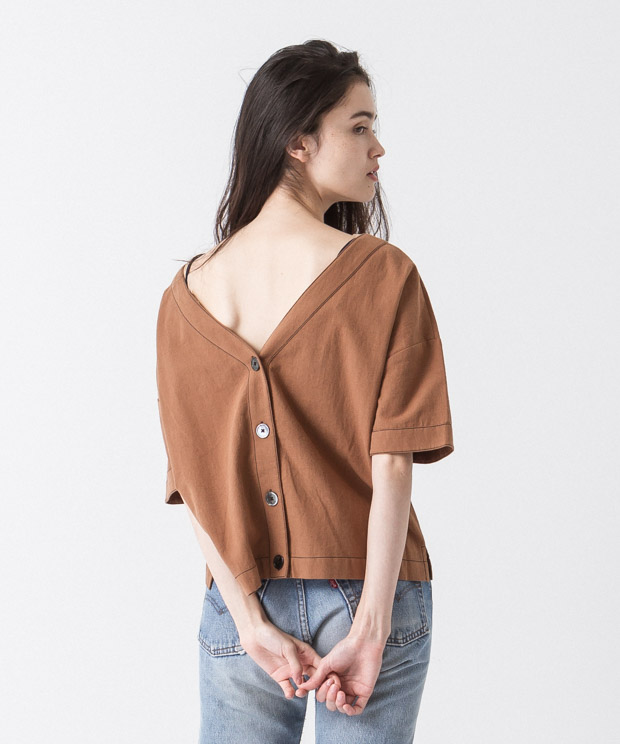 Back Button Blouse - BROWN