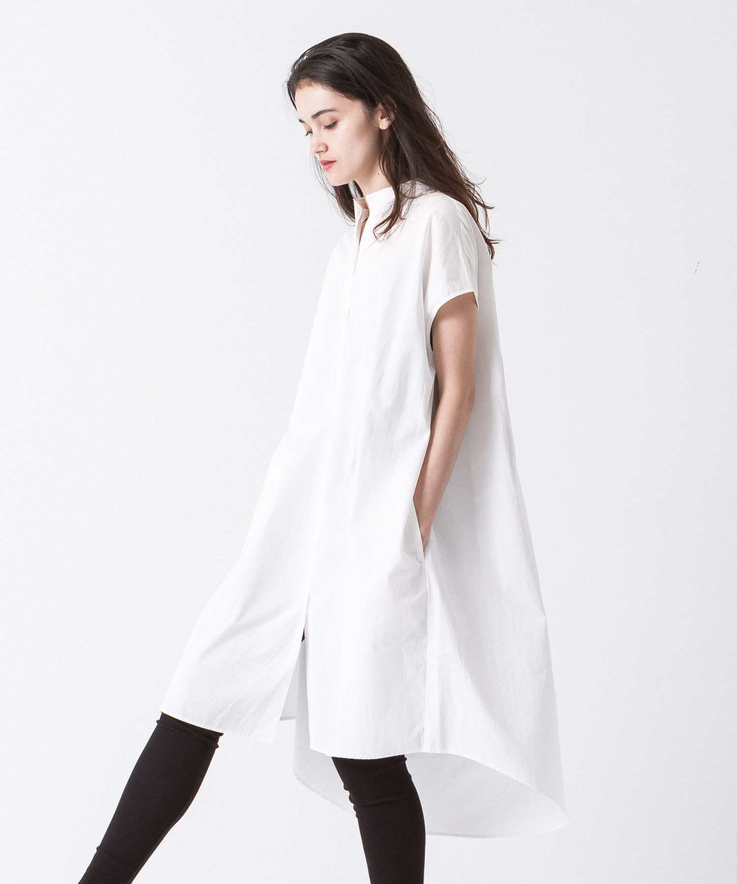 Flare Silhouette Shirt Dress - WHITE