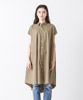 Flare Silhouette Shirt Dress - BEIGE