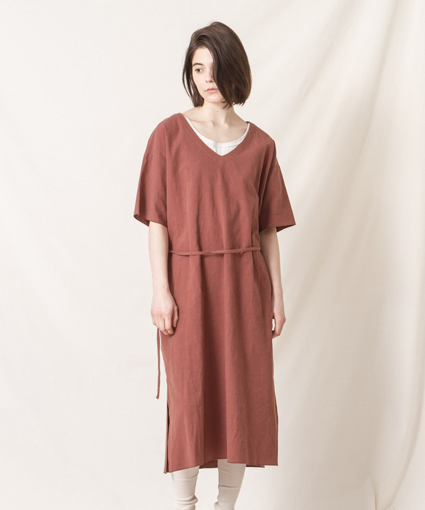 V-Neck Dress - BROWN