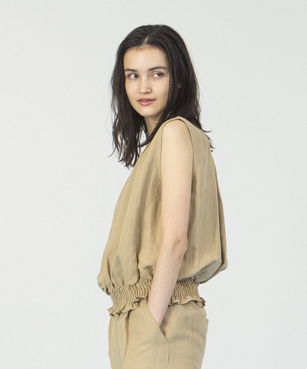 Linen Rayon Shirring Blouse  - BEIGE