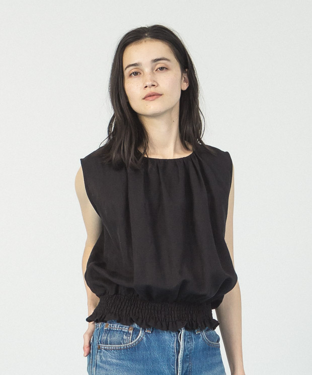 Linen Rayon Shirring Blouse  - BLACK