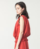 Linen Rayon Shirring Blouse  - RED
