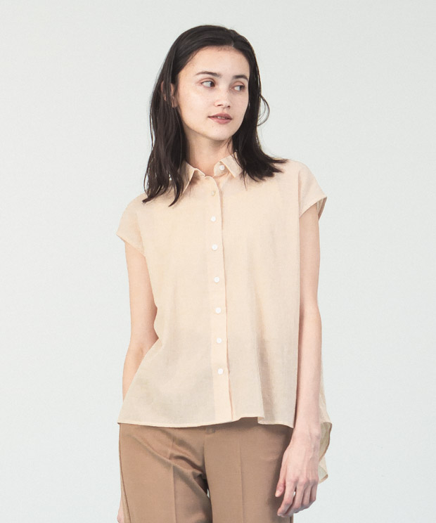 Cotton Chiffon French Sleeves Shirt  - BEIGE