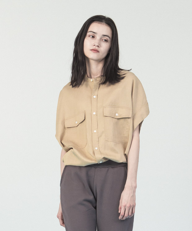 Oversized French  Sleeves Shirt - BEIGE