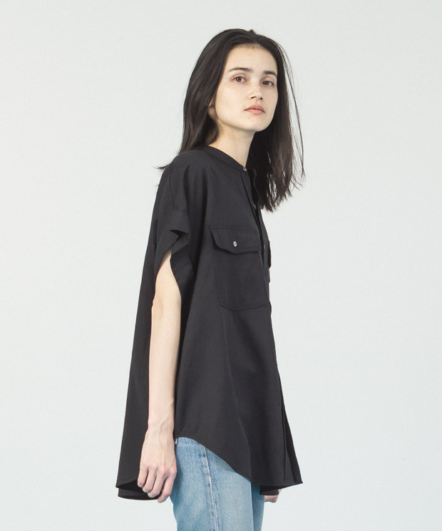 Oversized French  Sleeves Shirt - BLACK